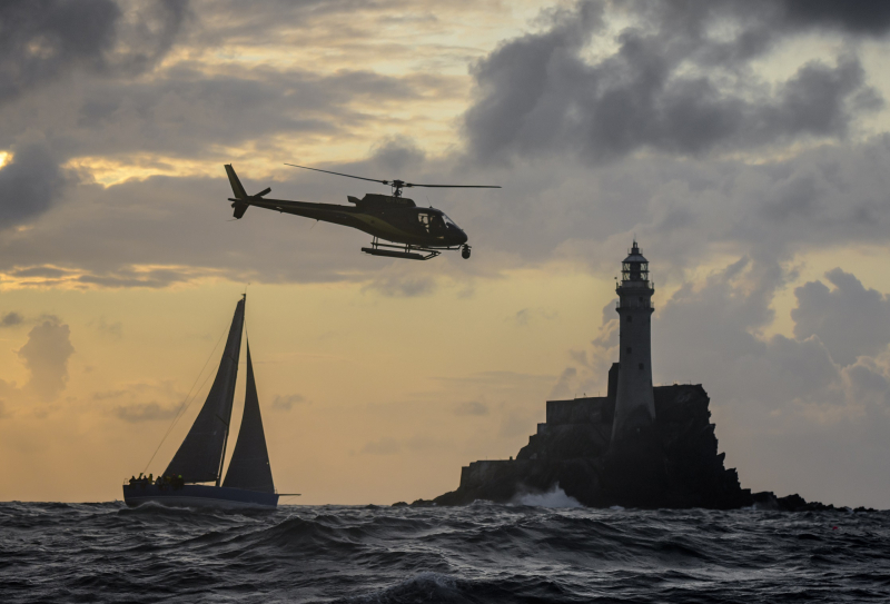 Rounding the Fastnet Rock in the 2019 Rolex Fastnet Race © Rolex/Kurt Arrigo