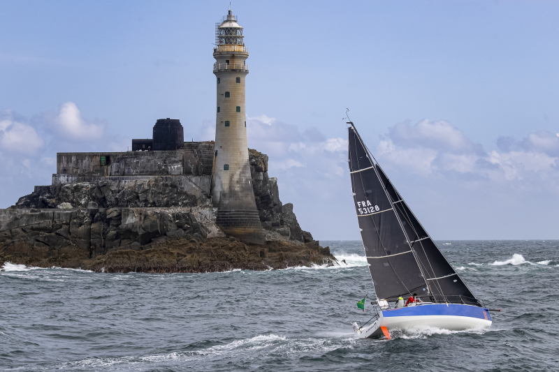 Rounding the Fastnet Rock: Cherbourg-based Alexis Loison and Jean Pierre Kelbert on JPK 10.30 Léon - back this year to defend their Two Handed title © Carlo Borlenghi/ROLEX