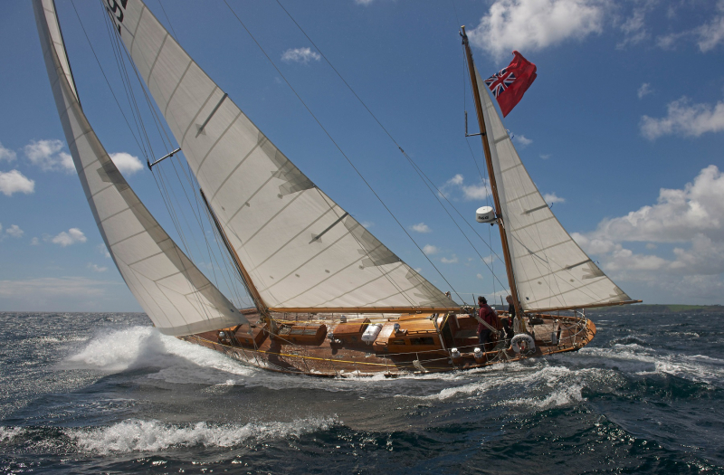 The oldest boat in the Rolex Fastnet Race - the 1939 Amokura will be raced two handed by owner Paul Moxon. Photo credit: © Nic Compton