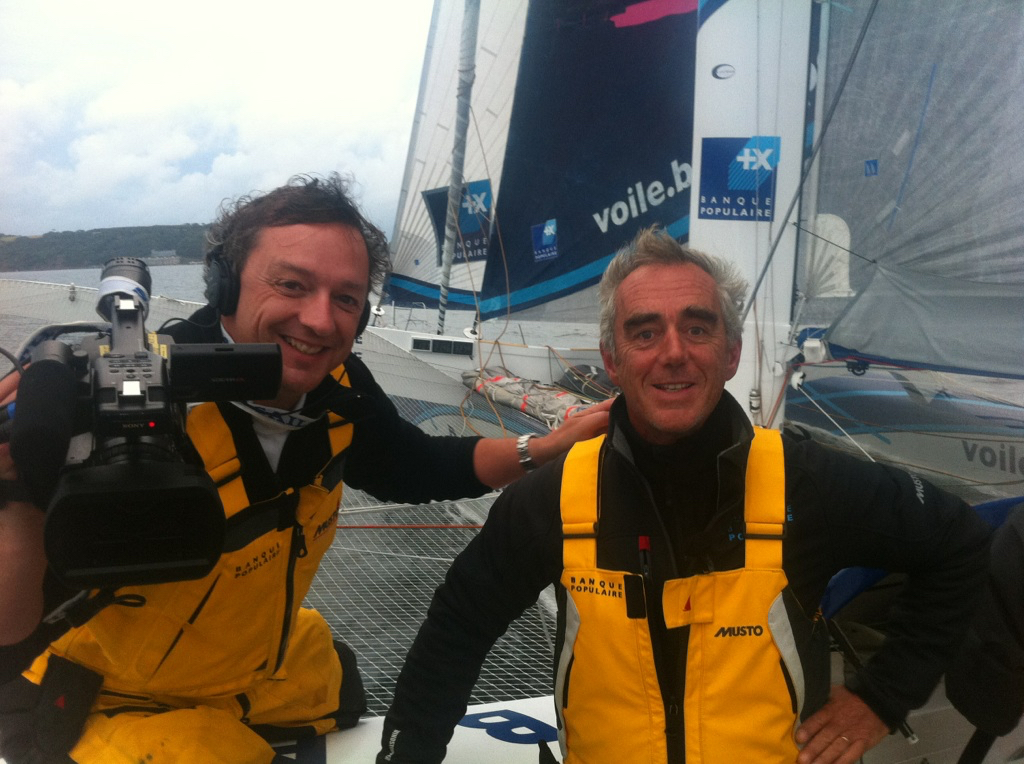 Digby Fox and Loic Peyron on board Banque Populaire V, 2011 Rolex Fastnet Race