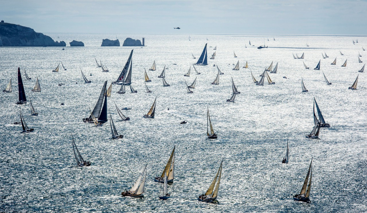 Fleet leaving the Solent at the Needles. Photo: Rolex/Kurt Arrigo