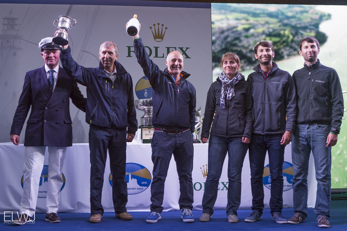 Alkaid III - Nautistock.com skipper and crew with the trophy for winning IRC 4 Overall. Photo: RORC/ELWJ Photography