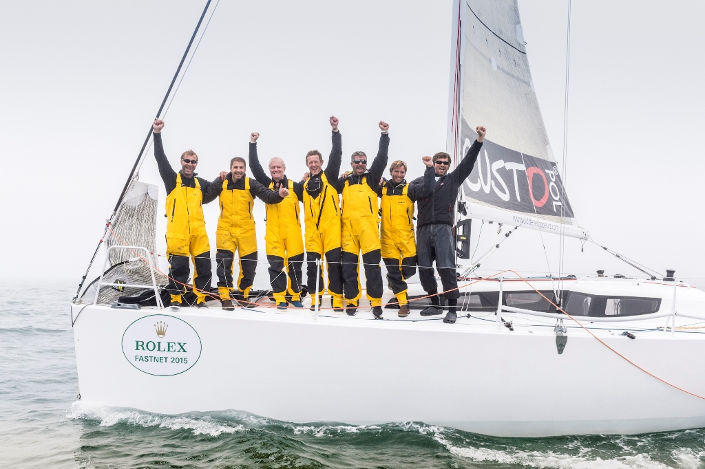 Courrier De Leon arrives in Plymouth, winner of IRC 3 and IRC Overall of the Rolex Fastnet Race 2015. Photo: Kurt Arrigo