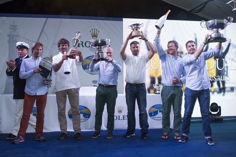 Winner of the 90th anniversary Rolex Fastnet Race, Géry Trentesaux and crew of Courrier Du Leon - Photo RORC/ELWJ Photography