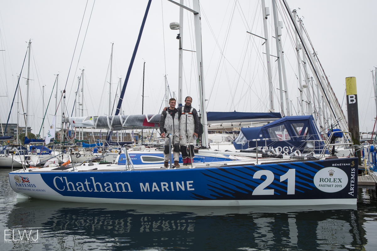 Sam Matson and Gonzalo Infante on their class winning Figaro II - Chatham Marine. Photo: ELWJ Photography