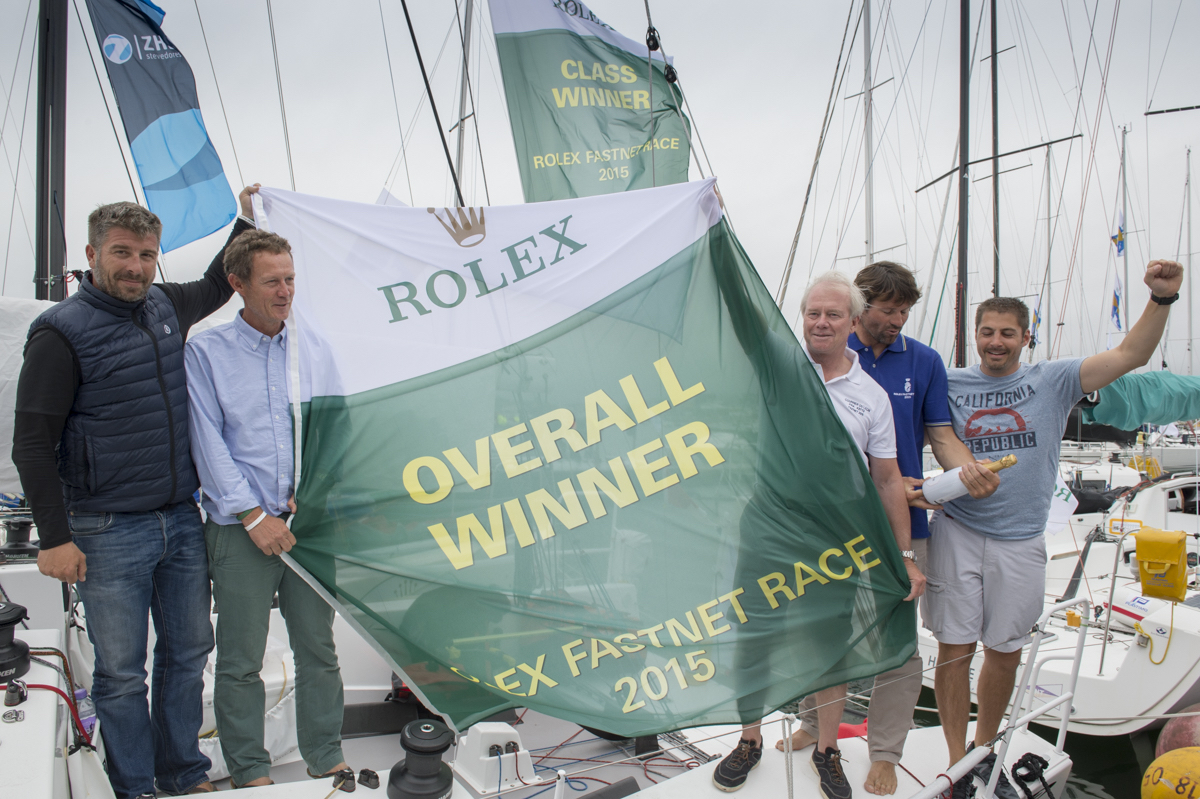 Gery Trentesaux and his JPK 10.80, Courrier Du Leon, the Overall Winner of the Rolex Fastnet Race 2015. Photo: Rolex/Kurt Arrigo
