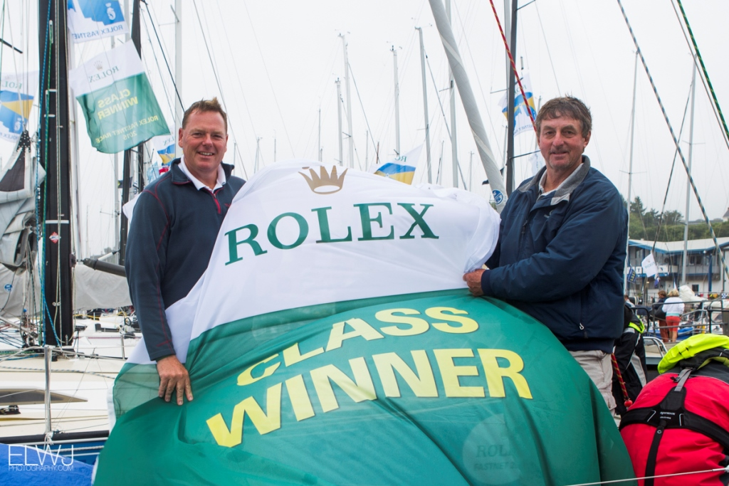 Stuart Childerley and Kelvin Rawlings with their Class Winner Battle flag at the finish in Plymouth. Photo: RORC/ELWJ Photography