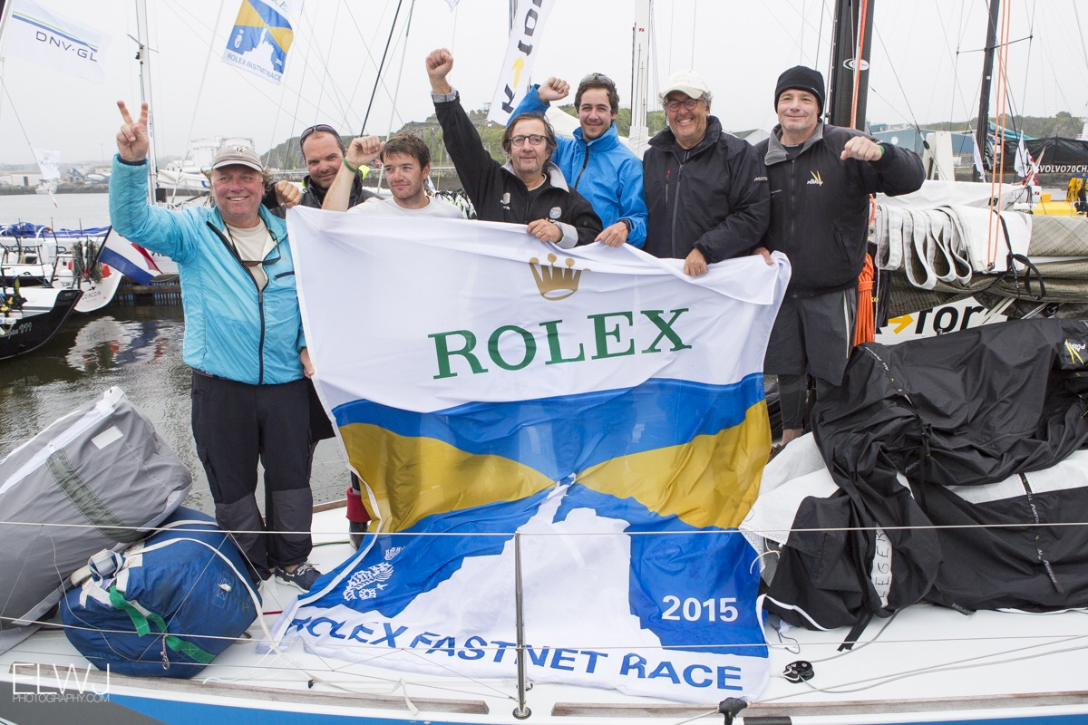 Nutmeg Solidaire en Peloton crew celebrate finishing the Rolex Fastnet Race. Photo: RORC/ELWJ Photography