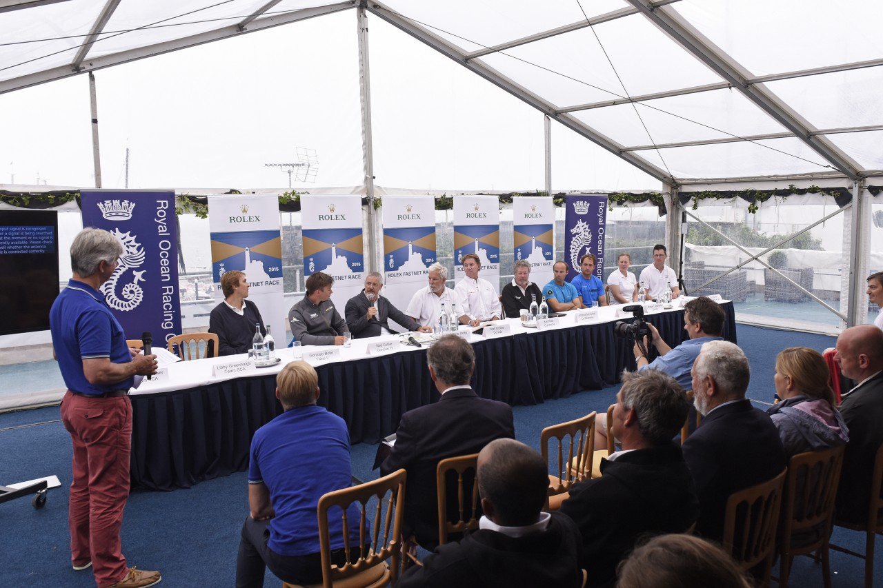 Eddie Warden Owen, RORC CEO introduces a panel of skippers from across the fleet, competing in the 46th Rolex Fastnet Race. Photo: RORC/Rick Tomlinson