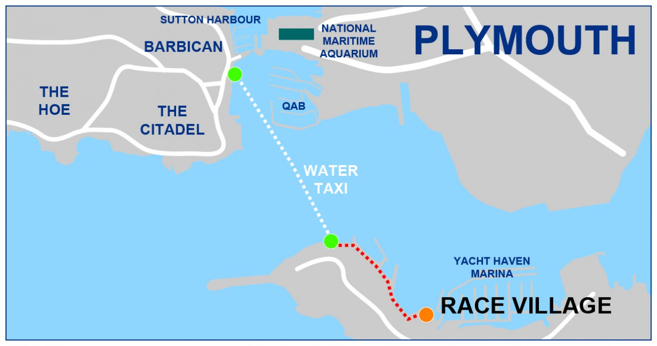 How to get to the Race Village in Plymouth