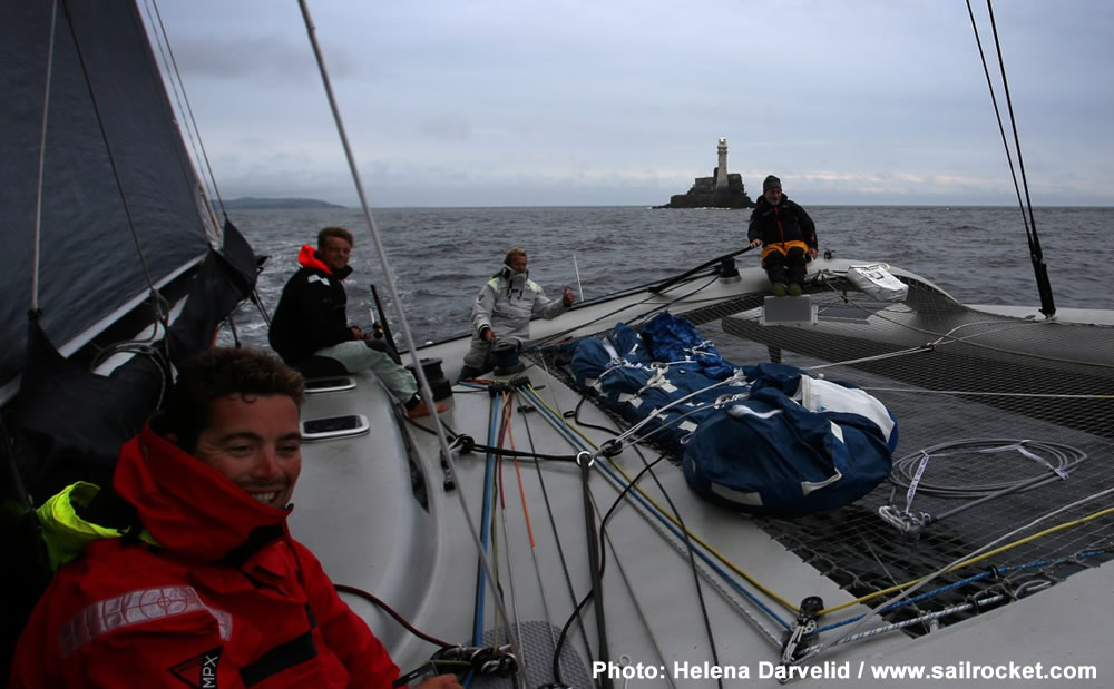 Paradox upon rounding the Fastnet Rock and just before their fastest return trip to Plymouth. Photo: Helena Darvelid/www.sailrocket.com