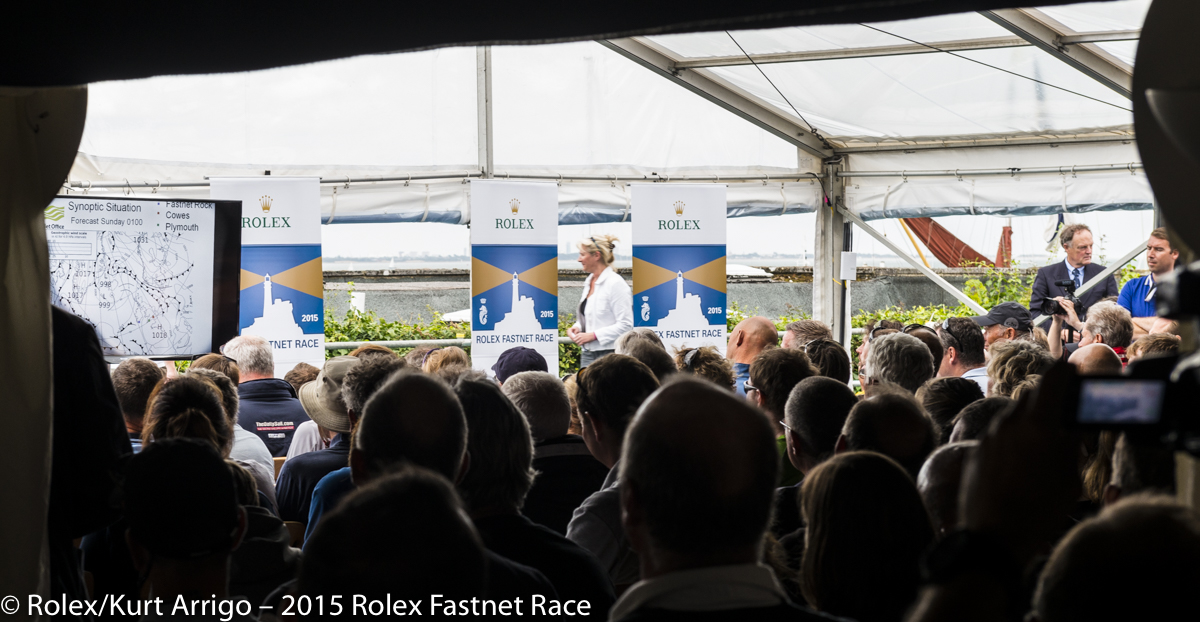 Skipper's Briefing at the RORC Clubhouse for the 2015 Rolex Fastnet Race. Photo: Rolex/Kurt Arrigo