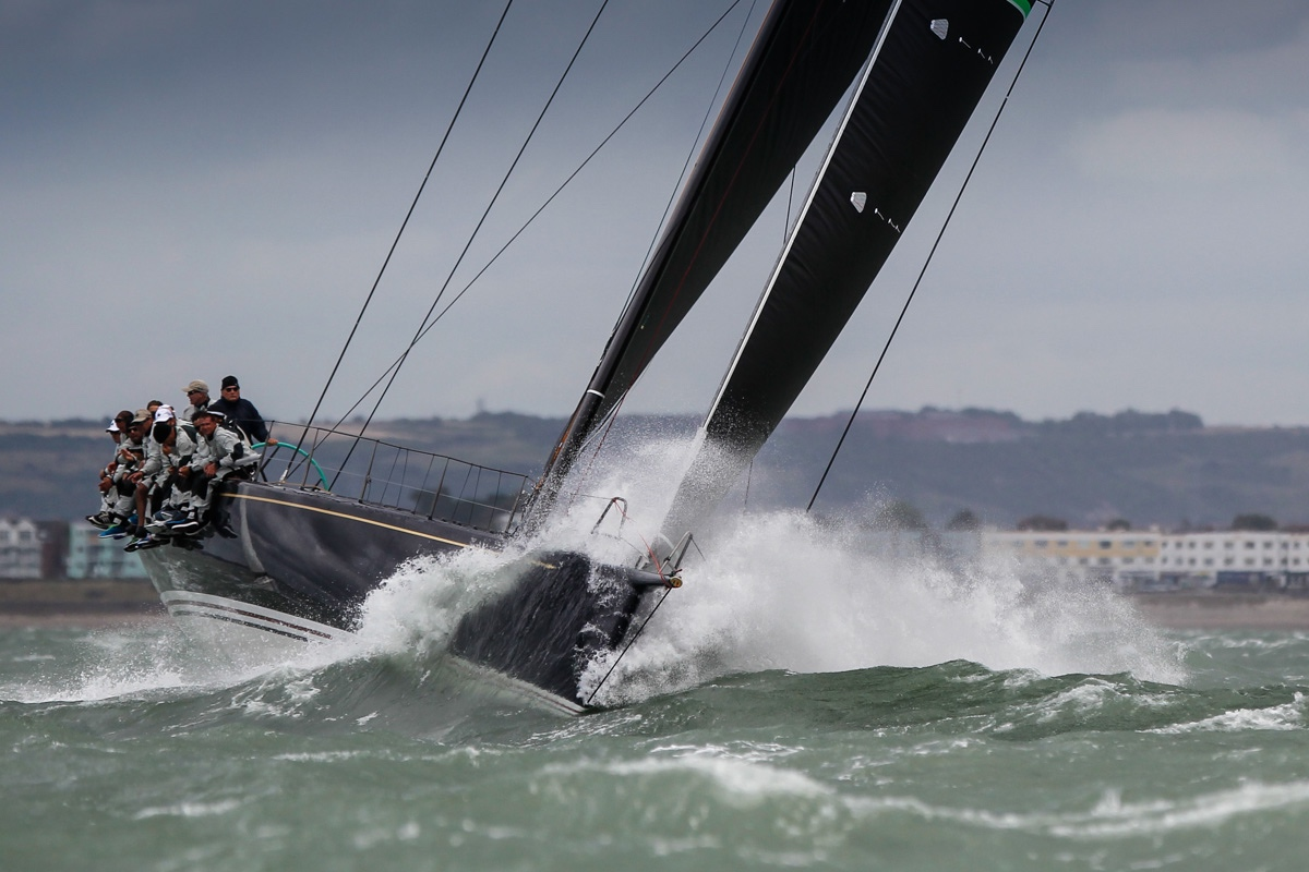 Hap Fauth's Bella Mente competing in the recent RYS Bicentenary International Regatta on a blustery day in the Solent. Photo: Paul Wyeth/pwpictures.com