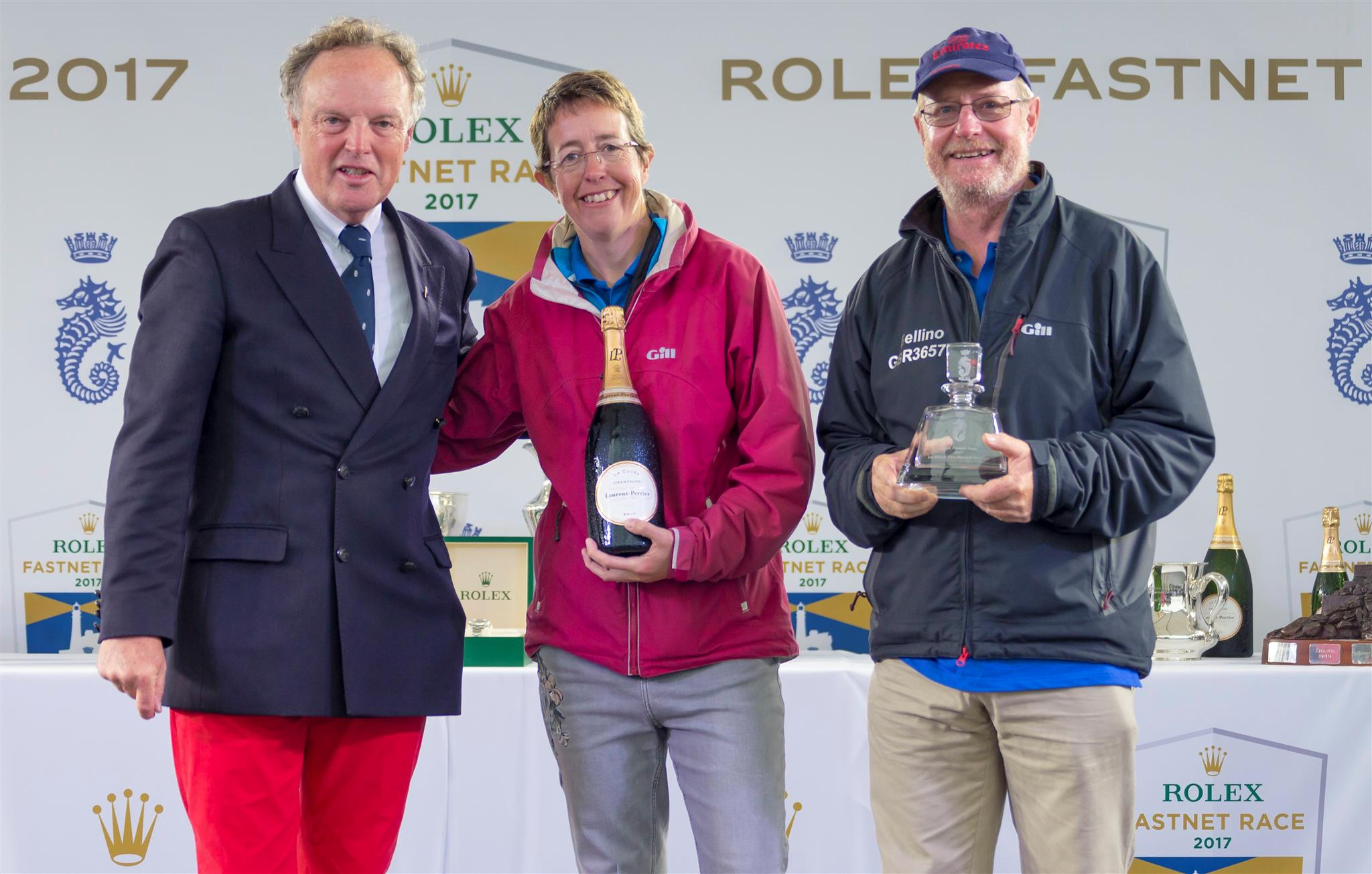 Deb Fish and Rob Craigie, of the winning Mixed Two-handed yacht and also the Best Female Skipper Overall, Bellino. Credit: ROLEX/Carlo Borlenghi