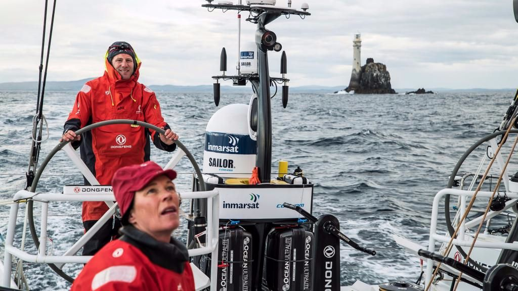 2017 Dongfeng Race team at the Fastnet Rock. Credit: Jeremie Lecaudey/Volvo Ocean Race