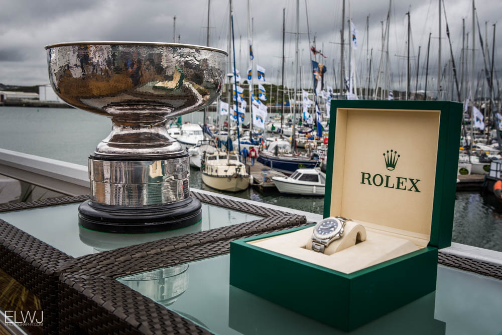 The winner of IRC Overall walks away with the 1925 original Fastnet Challenge Cup and a Rolex timepiece. Credit: ELWJ Photography/RORC