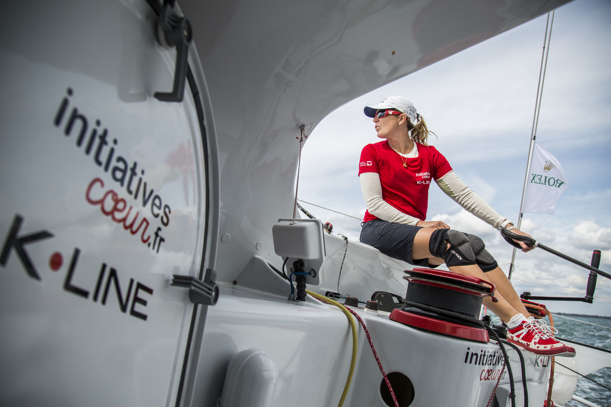 Picture sent to us from Initiatives Coeur of Sam Davies helming the IMOCA 60. Credit: Initiatives Coeur