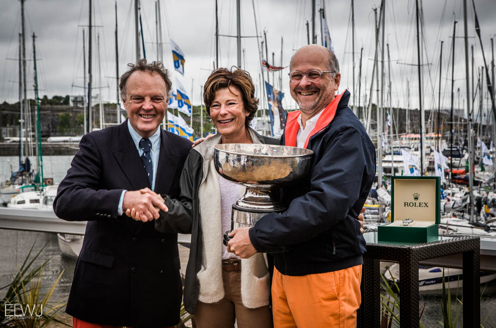 IRC Overall winner, taking home the Fastnet Challenge Cup is Didier Gaudoux with is JND 39, Lann Ael 2. He is joined by RORC Commodore Michael Boyd presenting Didier the original 1925 Fastnet Cup. Credit: ELWJ Photography/RORC