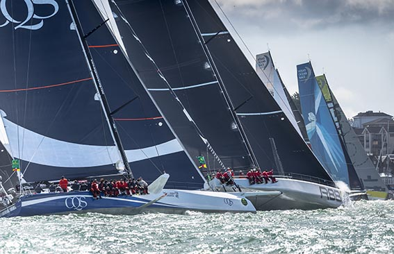 The Rolex Fastnet Race's largest monohull yachts at the start of the 2017 race from Cowes © Rolex/Kurt Arrigo