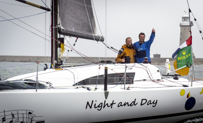 In the 2013 Rolex Fastnet Race the father and son team, Pascal and Alexis Loisin on their JPK 10.10 Night and Day became the first ever doublehanded winner © Rolex Kurt Arrigo