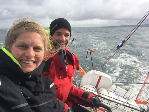Joan Mulloy and Cathal Clarke send a selfie from their Figaro II, Offshore Academy 21.