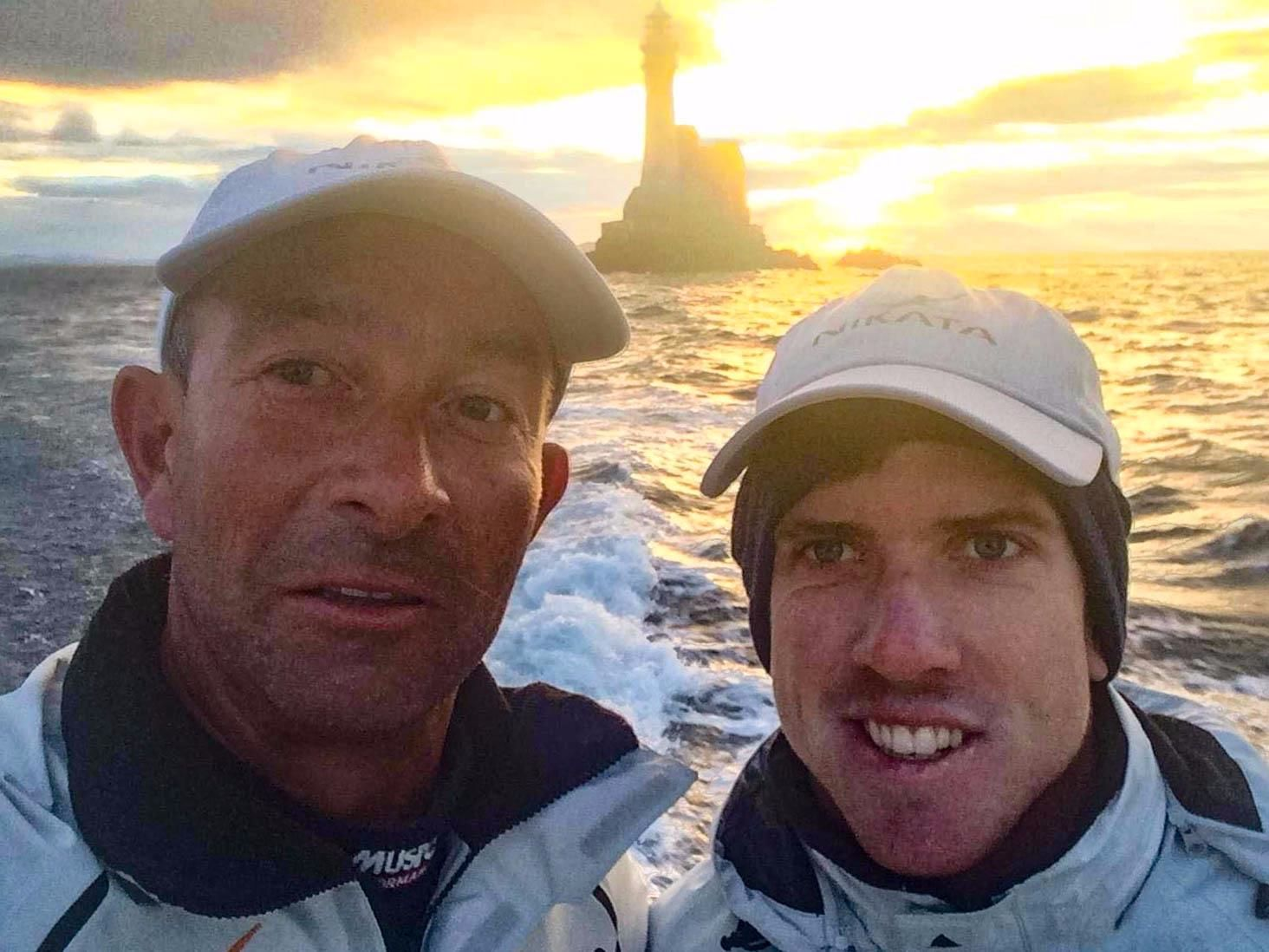 Peter Burling with Ian Budgen grab a selfie at the Fastnet Rock as Nikata rounded. Credit: Ian Budgen