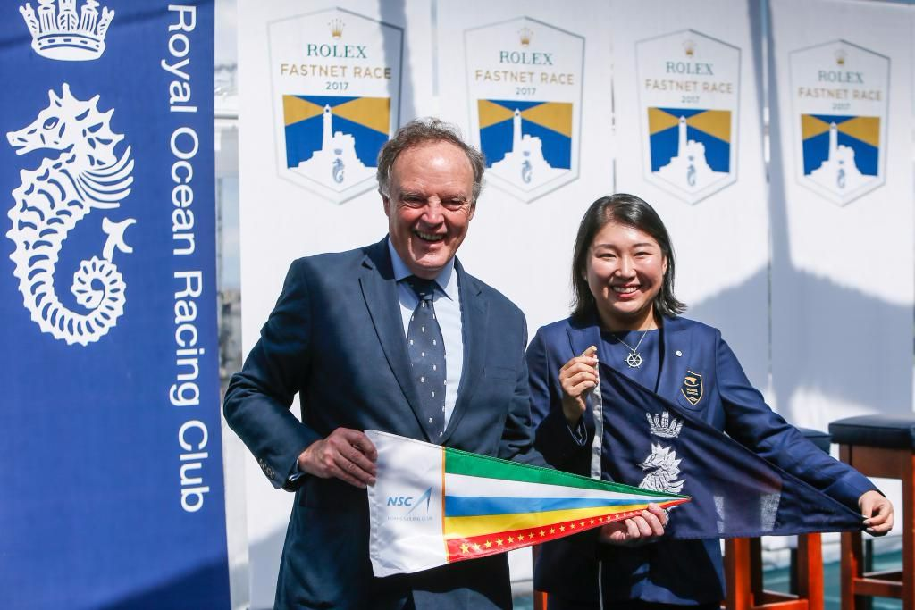 RORC Commodore Michael Boyd and Ting Lee of Noahs Sailing Club in Shanghai exchange club burgees  © Paul Wyeth/RORC