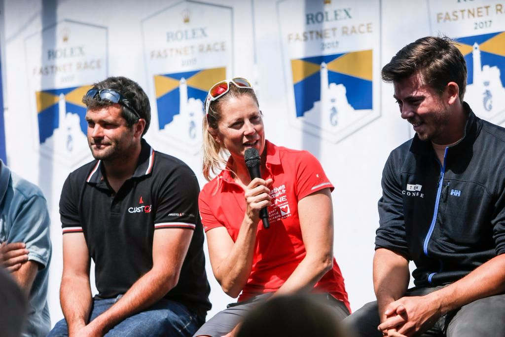 Vendée Globe and Volvo Ocean Race veteran Sam Davies will skipper Tanguy de Lamotte's foil-assisted IMOCA 60, Initiatives Coeur in the Rolex Fastnet Race (left: Alexis Loison (Night and Day),  middle: Sam Davies (initiatives Coeur), right: Ned Collier Wakefield (Concise 10) © Paul Wyeth/RORC