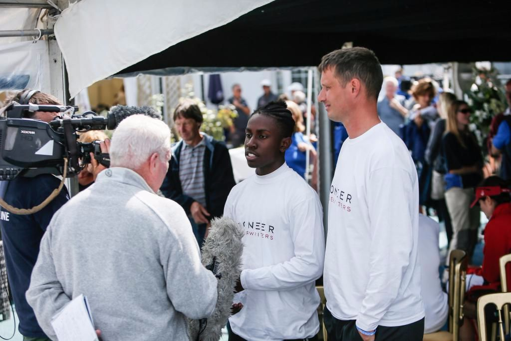 Seventeen-year-old Montel Fagan-Jordan, student from Greig City Academy is about to compete in his first ever Fastnet on the Frers 45 Scaramouche (right: Jon Holt, Head of Sixth Form) © Paul Wyeth/RORC