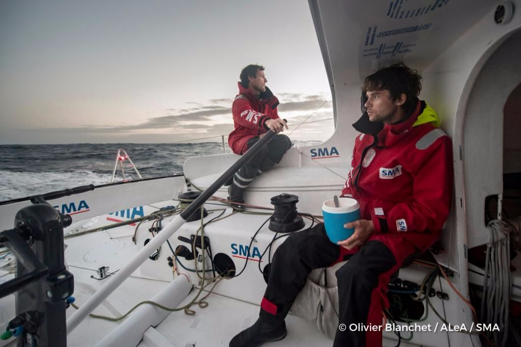 Paul Meilhat and Gwénolé Gahinet take turns onboard IMOCA 60, SMA. Credit: Olivier Blanchet