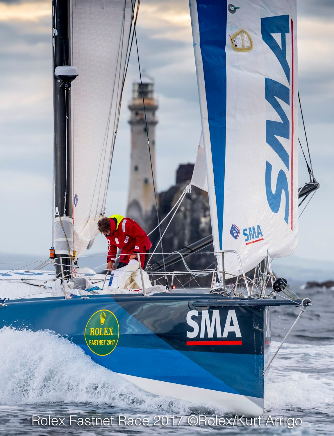 IMOCA 60, SMA, skippered by Paul Meilhat and Gwénolé Gahinet, rounding the Fastnet Rock. Credit: SMA