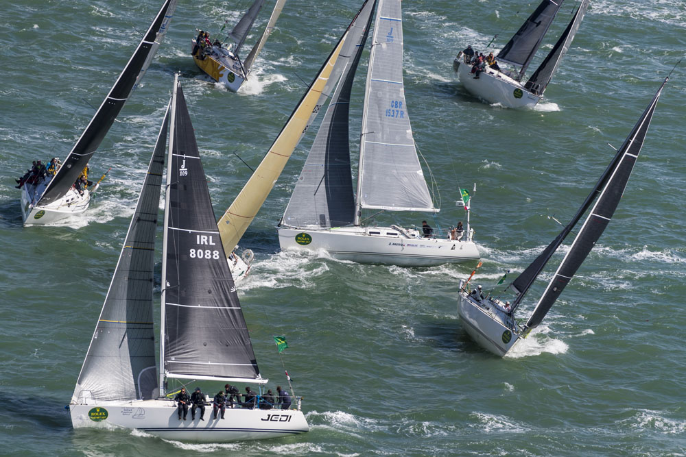 83 starters in IRC Three made for a thrilling startline and a competitive class on the water. Credit: ROLEX/Carlo Borlenghi