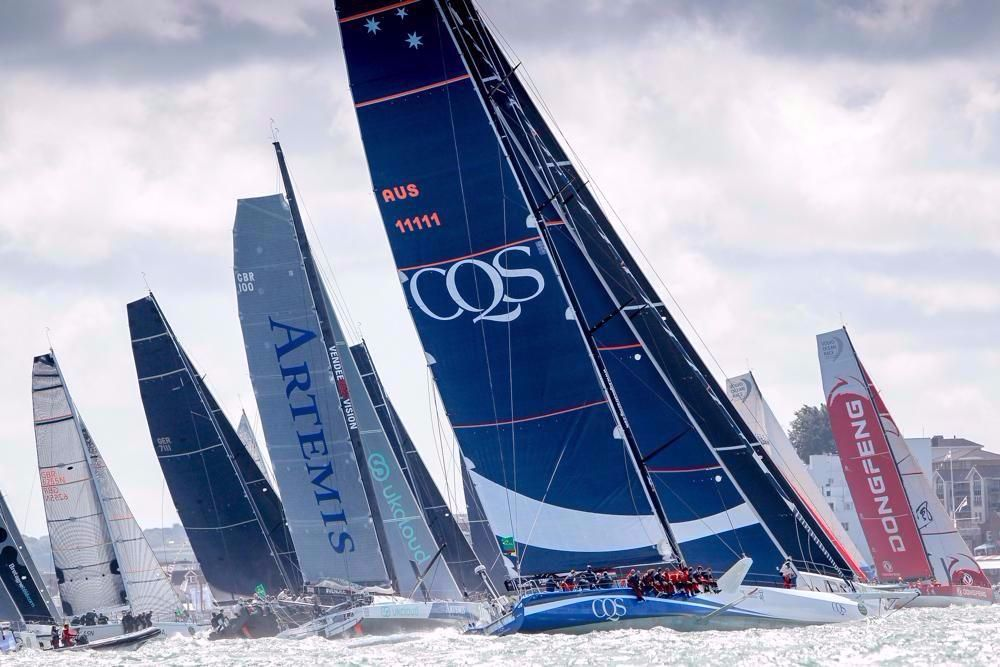Artemis Ocean Racing lining up next to CQS in the IRC Zero start. Credit: Paul Wyeth