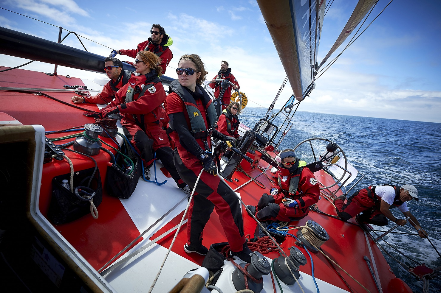 The diverse team on board the French VO60 Team Jolokia promoting the message 'Difference is a Strength' through their Rolex Fastnet Race campaign © Ministères sociaux DICOM Arnaud Pilpré Sipa