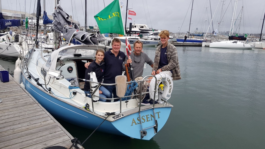 The Rogers family on board their Contessa 32 Assent at the finish of the Rolex Fastnet Race © James Boyd