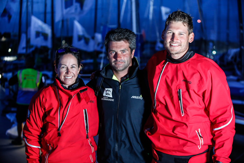Hannah Diamond and Henry Bomby of Sun Fast 3300 Fastrak XII flank Alex Loison of IRC Three winner Léon © Paul Wyeth/www.pwpictures.com