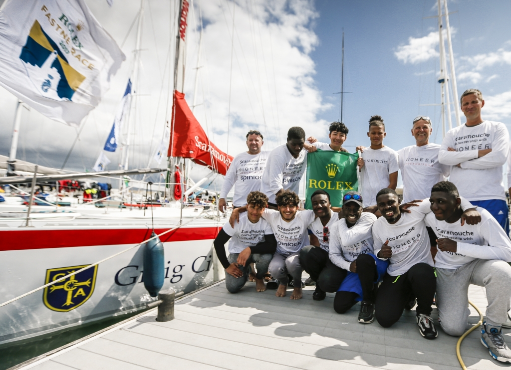Scaramouche celebrate their second Rolex Fastnet Race © Paul Wyeth/www.pwpictures.com