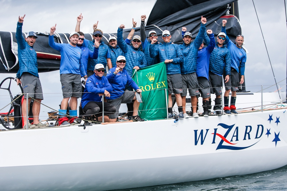 The crew of Wizard at the finish of the Rolex Fastnet Race in which they have put in a strong performance to contend for IRC Overall © Paul Wyeth/www.pwpictures.com