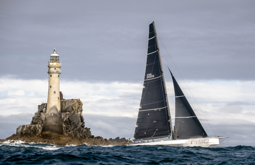 Rambler 88 set a new monohull record from Cowes to the Fastnet Rock and finished to claim monohull line honours © Kurt Arrigo/Rolex