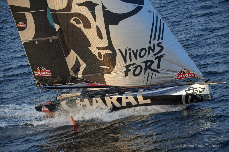 With the latest foiling technology, Jérémie Beyou's Charal will be one of 28 IMOCA 60s competing in this year's  Rolex Fastnet Race © Yvan Zedda /Alea/ Charal