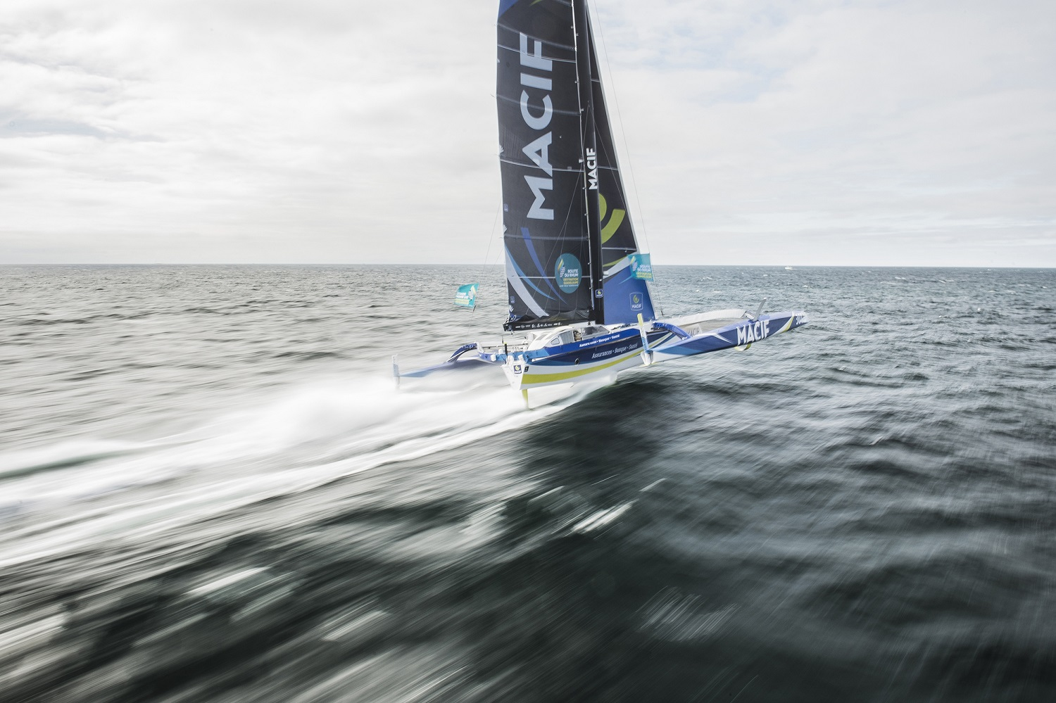 Flying - Francois Gabart's Ultime triamaran MACIF touched 49.4 knots in the Route du Rhum © Vincent Curutchet / ALéA