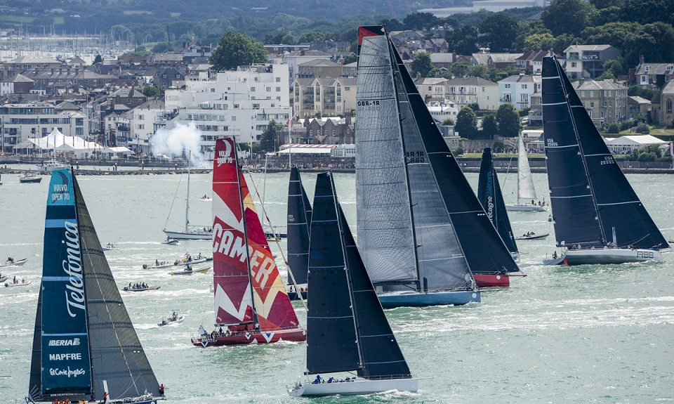 The international fleet is highly diverse, with boats ranging in size from 9m to 32m and a start sequence taking place  over a 1hr 40min period off Cowes from the Royal Yacht Squadron line © Rolex/Kurt Arrigo