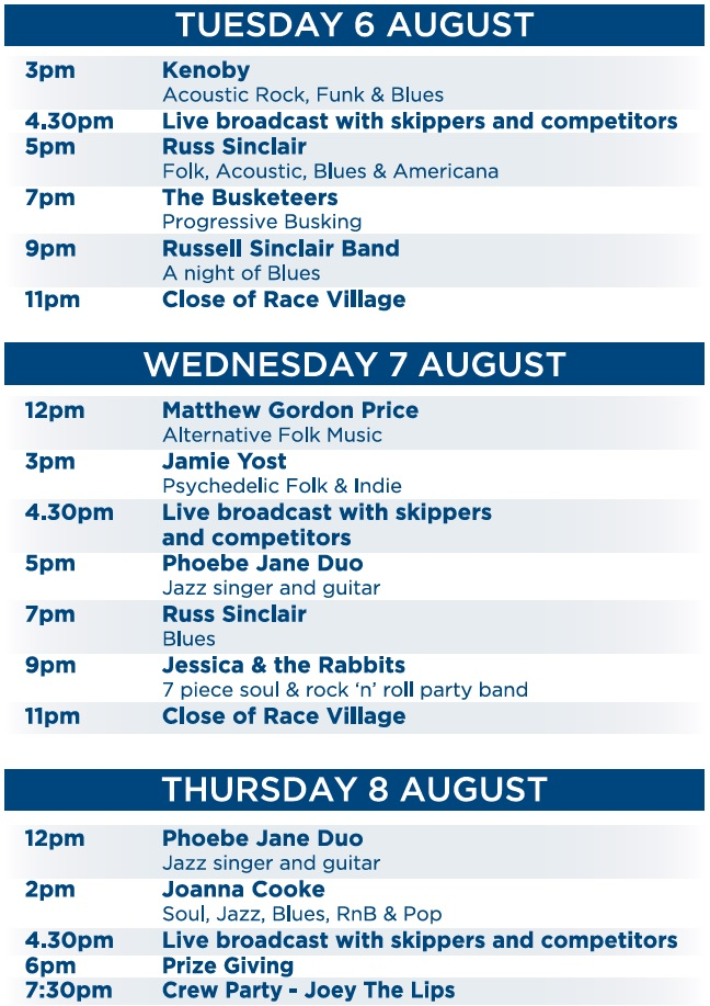Plymouth Race Village Entertainment Schedule