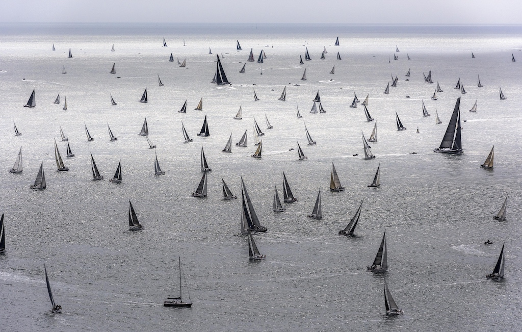 The 48th Rolex Fastnet Race starts on Saturday 3 August 2019. The immense fleet in the world's largest offshore yacht race is an impressive sight as they head into the English Channel © Rolex/Kurt Arrigo