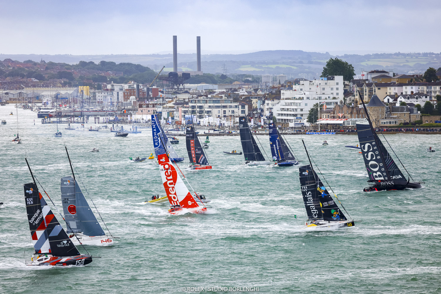 IMOCA 60 and Class40 start off the Royal Yacht Squadron, Cowes in the Rolex Fastnet Race © Carlo Borlenghi/Rolex
