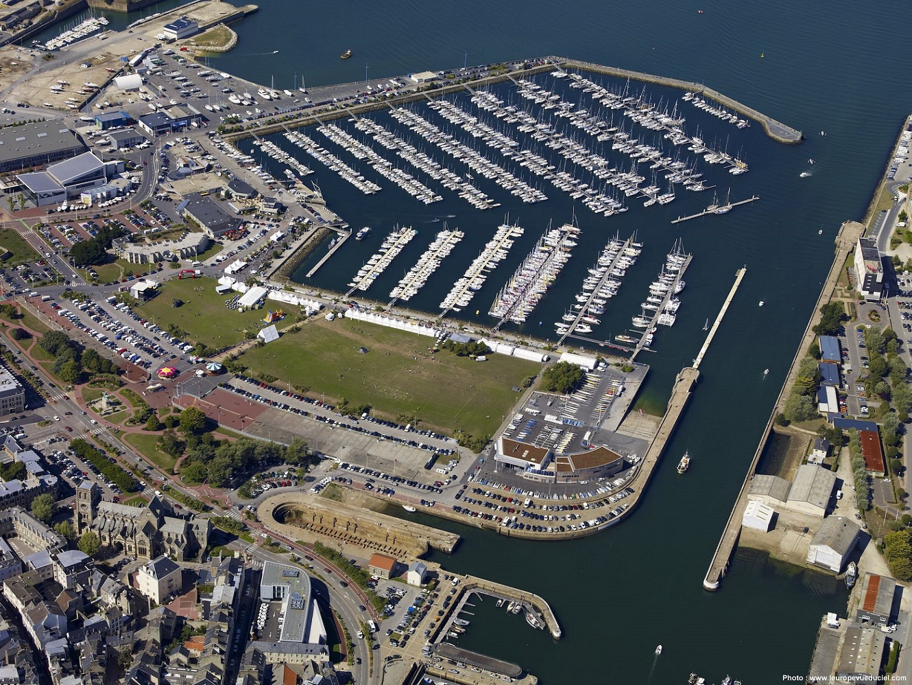 Aerial view of the host port - Cherbourg, France where the massive fleet will be berthed and sailors from around the world will enjoy the festivities and fantastic atmosphere on arrival © www.leuropevueduciel.com