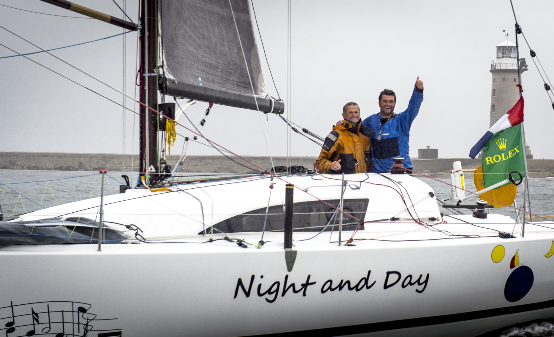 The 2013 race saw the first overall winner sailing doublehanded - Pascal Loison and son Alexis aboard their JPK 10.10 Night and Day © ROLEX/Kurt Arrigo